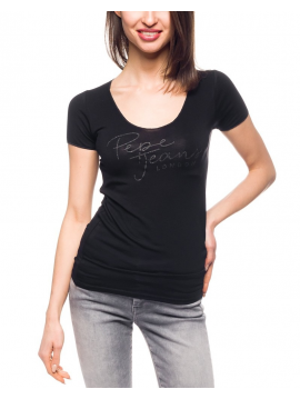 Dámské černé tričko s výšivkou Pepe Jeans KATE