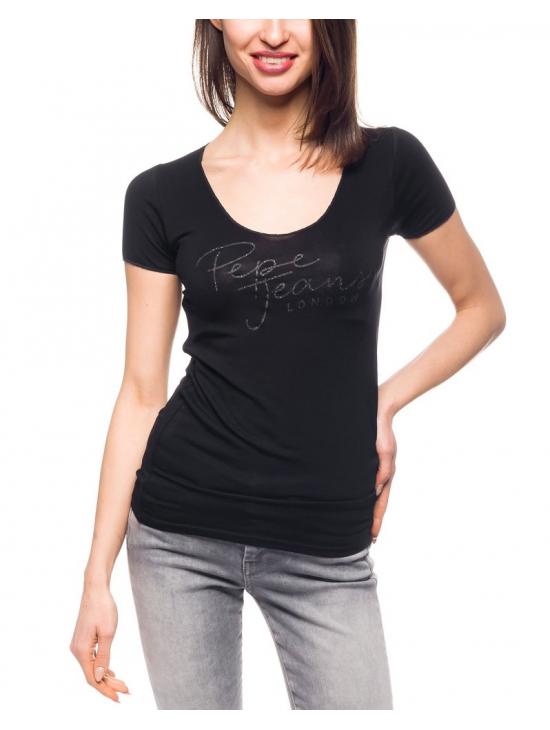c9a7a68473f Dámské černé tričko s výšivkou Pepe Jeans KATE - 919 CONCEPT STORE