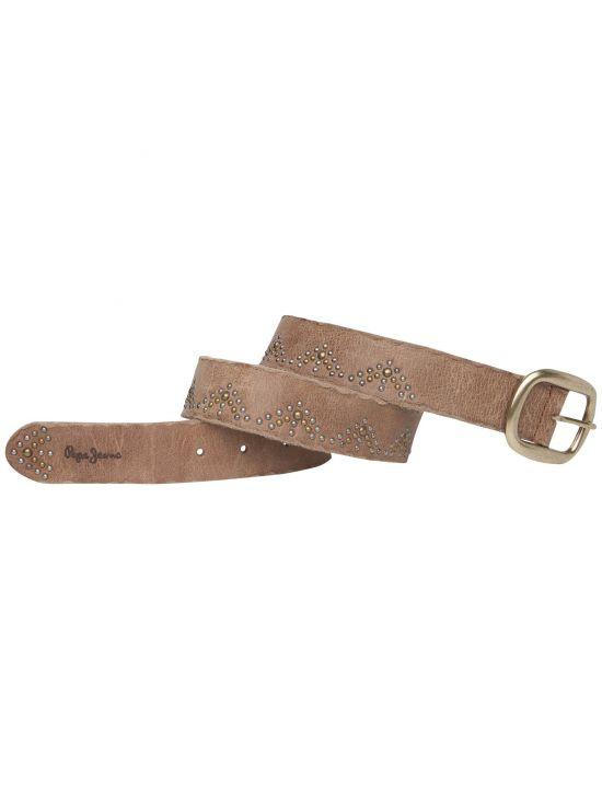 Hnědý kožený pásek Pepe Jeans s ozdobným kováním NOKHE BELT