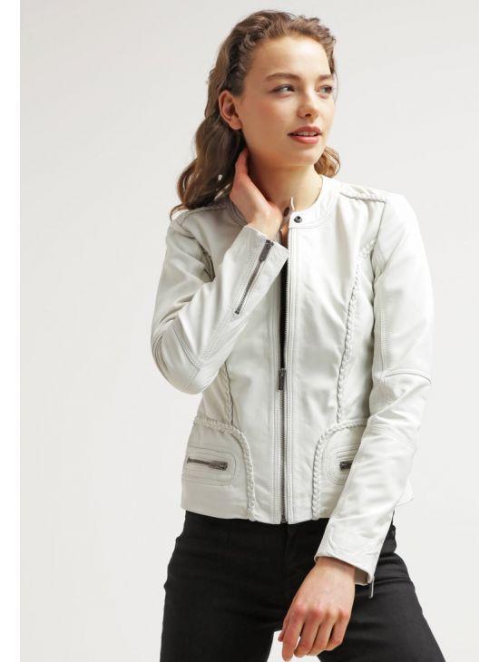 Kožená bílá bunda Pepe Jeans NASHDA