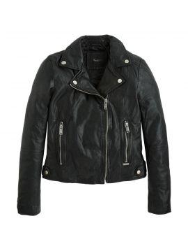 Kožená bunda křivák Pepe Jeans ADRIANA černá