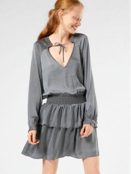 Šedé šaty s volány Pepe Jeans CAROL