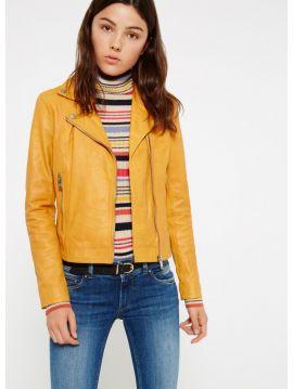 Kožená bunda křivák Pepe Jeans ADRIANA