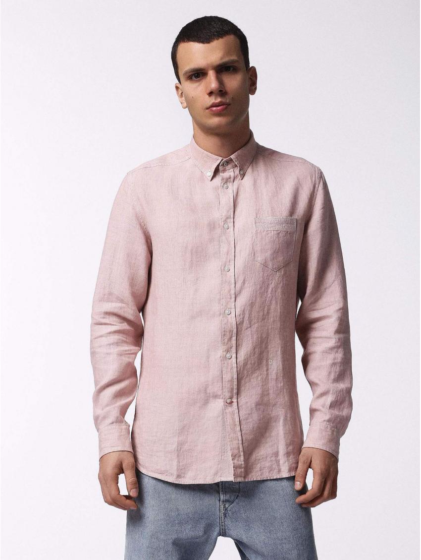 Pánská lněná růžová košile Diesel S-WOOCHS - 919 CONCEPT STORE 4852d44ef4
