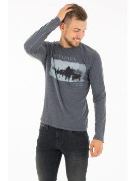 Šedé triko s potiskem Pepe Jeans SALIX