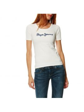 Bíle triko s výšivkou z flitrů Pepe Jeans MARIA