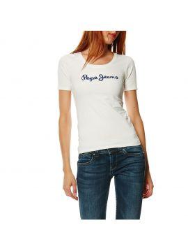 Bíle triko s výšivkou z flitrů Pepe Jeans MARIA 149e9379c4
