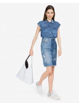 Džínová sukně s vyšším pasem Pepe Jeans PATCHY