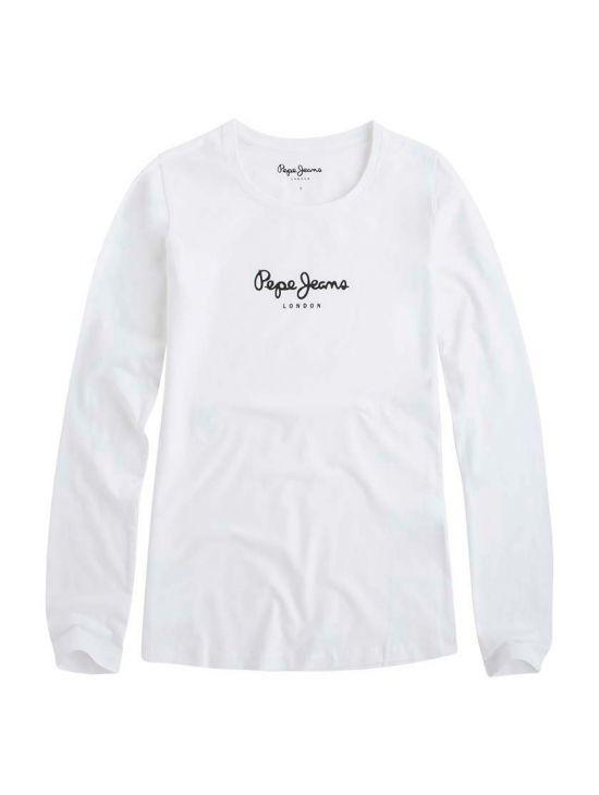 Bílé triko s dlouhým rukávem Pepe Jeans VIRGINIAb