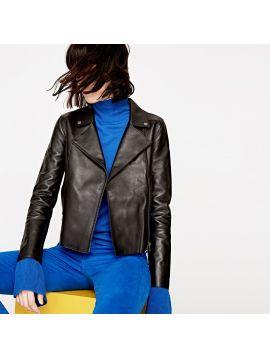 Kožená černá bunda Pepe Jeans LIANA