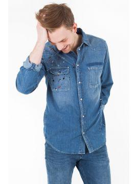 Modrá košile s cákanci Pepe Jeans PAINTER