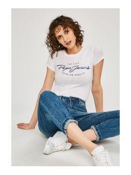 Bílé triko s potiskem Pepe Jeans CHARLEEN
