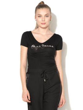 Černé triko s kamínky Pepe Jeans BOBIE