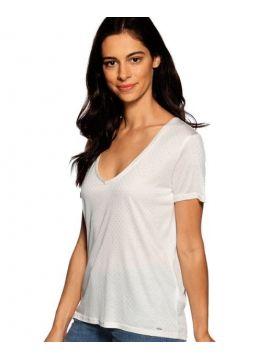 Bílé triko se stříbrnými puntíky Pepe Jeans ADELE