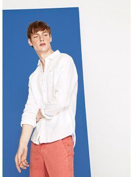 Bílá lněná pánská košile Pepe Jeans PRESTI