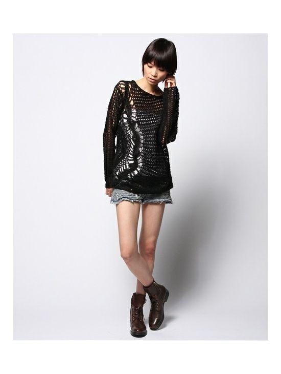 Ručně pletený svetr s velkými oky Diesel M-BOOGIE