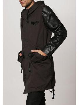 Pánská parker bunda s koženými rukávy Diesel L-NAIMA