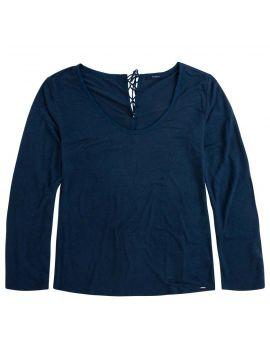 Tmavomodré lněné triko dlouhý rukáv Pepe Jeans BEA