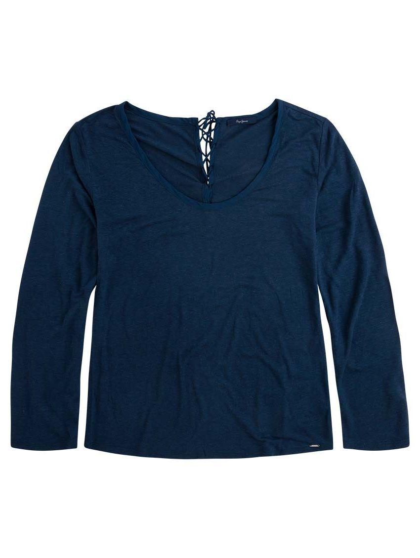 9549f1cf5a4 Tmavomodré lněné triko dlouhý rukáv Pepe Jeans BEA - 919 CONCEPT STORE