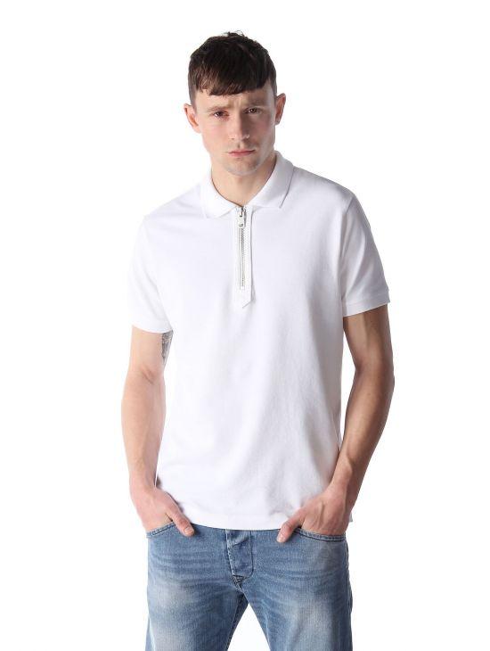 Pánské bílé polo triko na zip Diesel T-KONAN