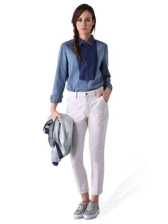 Bílé kalhoty s vyšším pasem Diesel SLIM-CHINO Fa