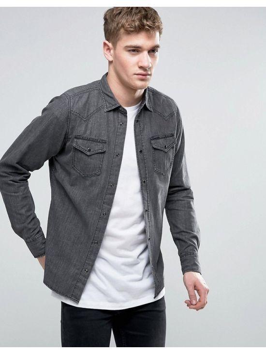 Pánská šedá džínová košile Diesel NEW-SONORA-E
