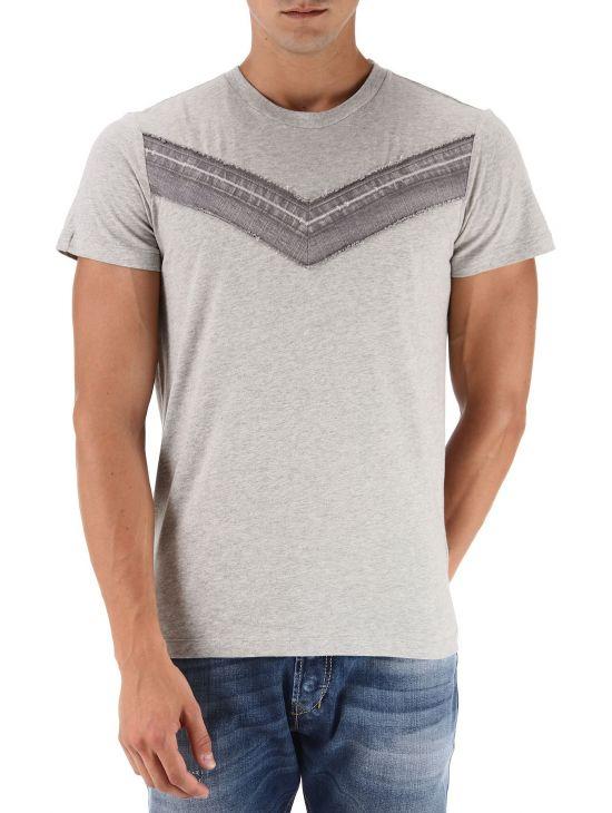 Pánské šedé triko s kontrastním džínovým V Diesel T-VEGAL 1