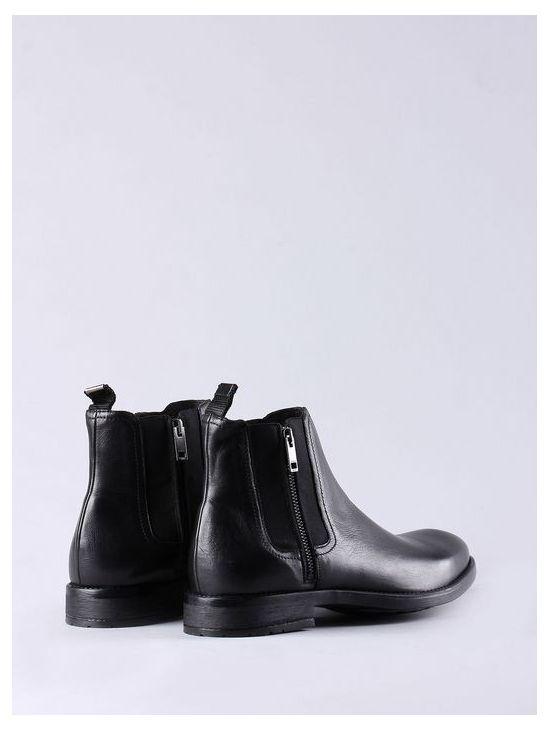 Černé kožené kotníkové boty Diesel D-ANKLOOKa