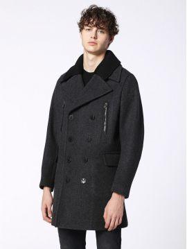 Pánský šedý zimní vlněný kabát Diesel W-MUNFORD