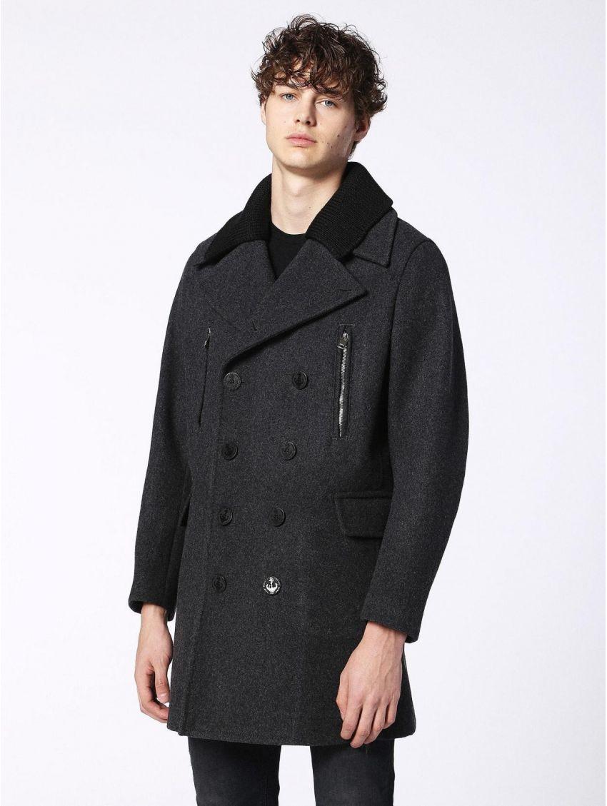 355e7ff1b1f Pánský šedý zimní vlněný kabát Diesel W-MUNFORD - 919 CONCEPT STORE
