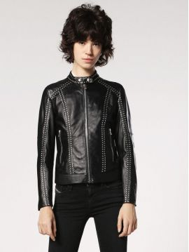 Kožená černá dámská bunda se cvočky Diesel L-LORY-D