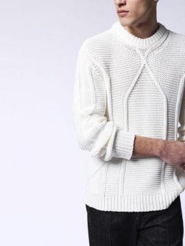 Pánský bílý zimní pulover svetr Diesel K-MILLER