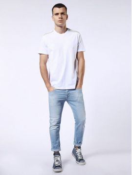 Pánské bílé triko s denimovým detailem Diesel T-GULLE