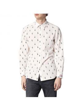 Bílá pánská košile Diesel s tanečnicemi S-DUNES-MIC