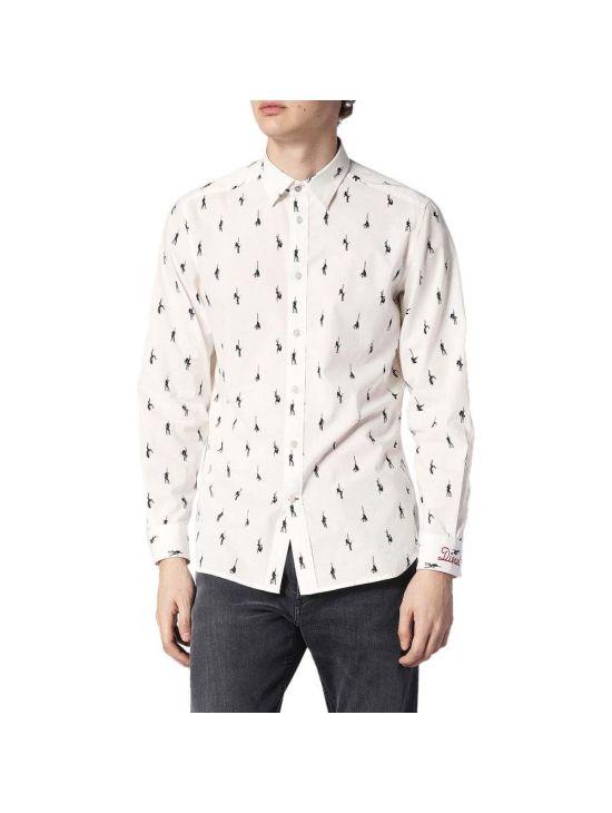 Bílá pánská košile Diesel s tanečnicemi S-DUNES-MIC - 919 CONCEPT STORE a2db09128a