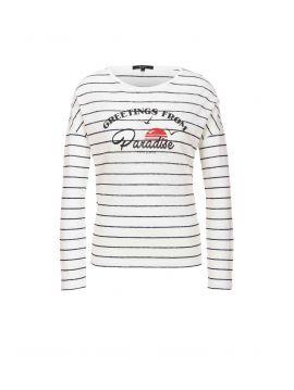 Dámské lněné triko pruhované Pepe Jeans FREDA