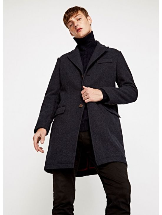 b0463694b07 Vlněný modro šedý kabát Pepe Jeans TIAGO - 919 CONCEPT STORE