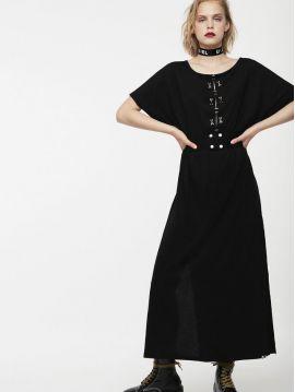 Dlouhé černé šaty s páskem Diesel D-ALBA