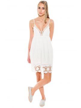 Bavlněné bílé šaty s krajkou Pepe Jeans NATI