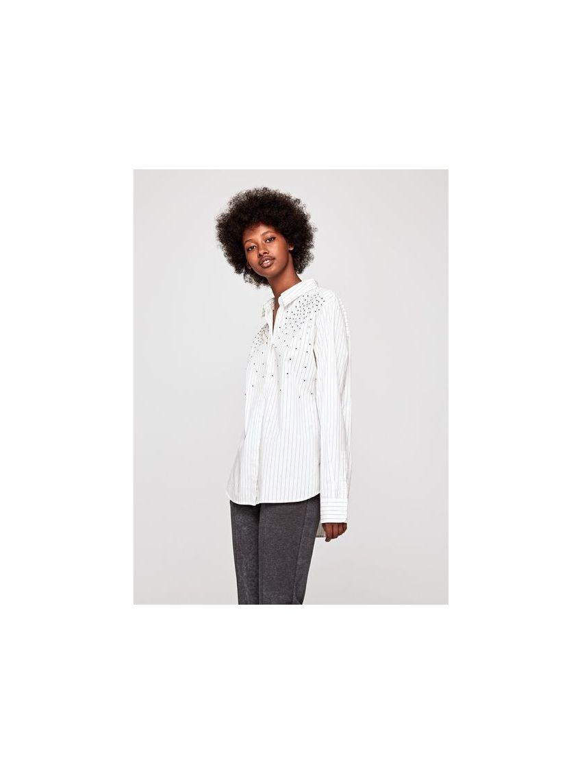 f14135e719c Bílá pruhovaná dámská košile Pepe Jeans AYA - 919 CONCEPT STORE