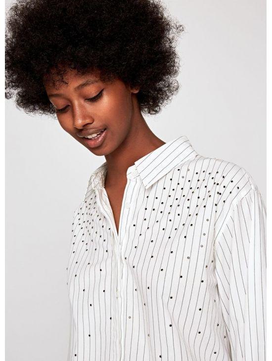 Bílá pruhovaná dámská košile Pepe Jeans AYAa