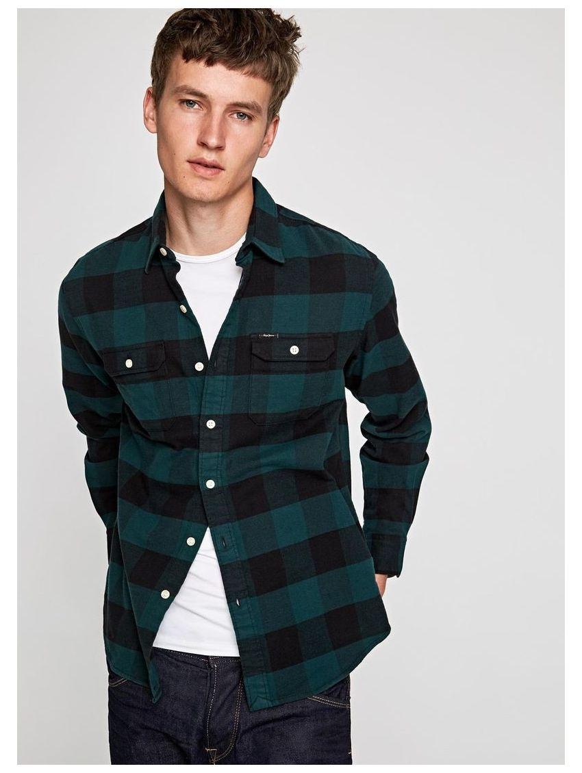 Zelená kostkovaná pánské košile Pepe Jeans JUDE - 919 CONCEPT STORE b0f9cededc