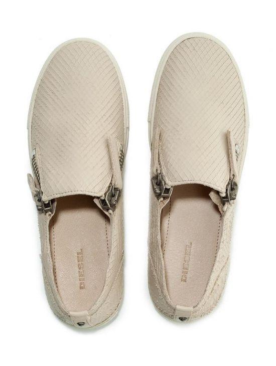 Kožené dámské béžové nazouváky boty Diesel