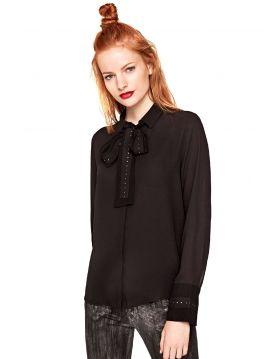 Černá dámská košile s vázačkou Pepe Jeans LUCIA