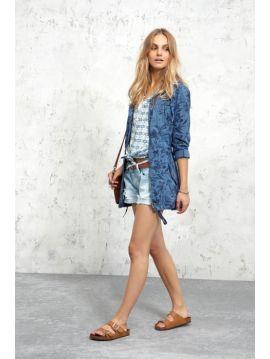 Lehká modrá dámská parka bunda Pepe Jeans SANDY