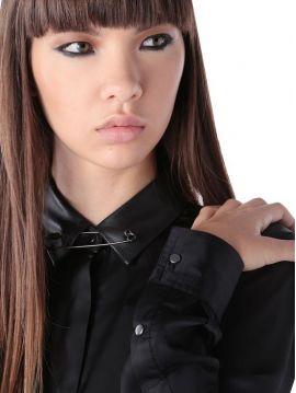 Košile s koženým límečkem Diesel C-MINAXa
