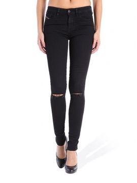 Slim černé džíny s dírou na koleni Diesel SKINZEE