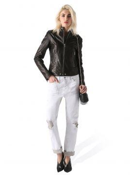 Bíle dámské džíny se záplatami Diesel REEN-PATCH