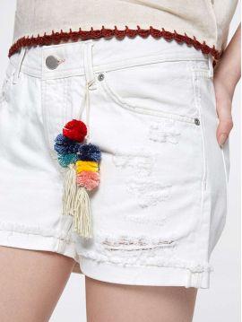 Bílé džínové kraťasy s bambulkami Pepe Jeans THRASHER